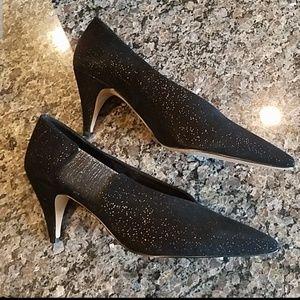 Free People Black and Metallic Glitter Heels